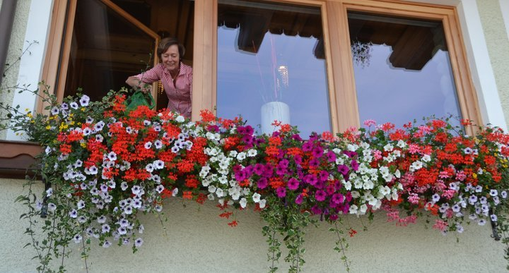 Seniorchefin Gerti bei der täglichen Blumenpflege
