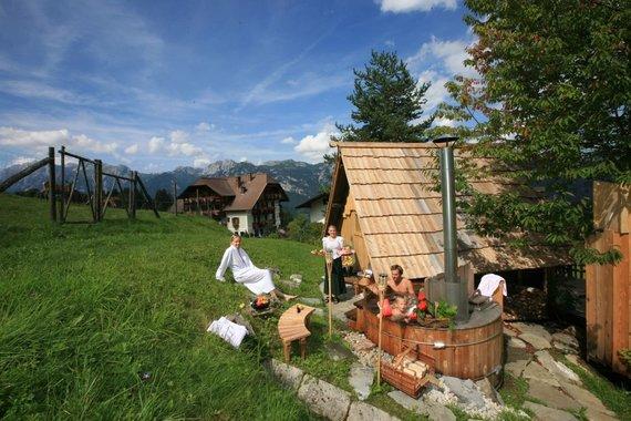 Stadl Sauna mit Lärchenzuber