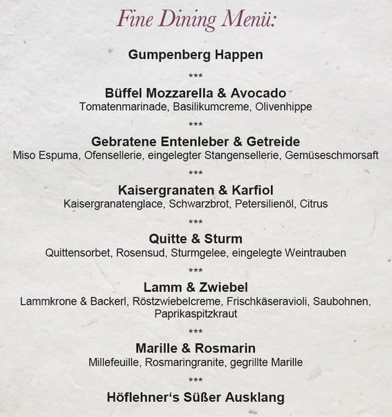 Fine Dining Menü
