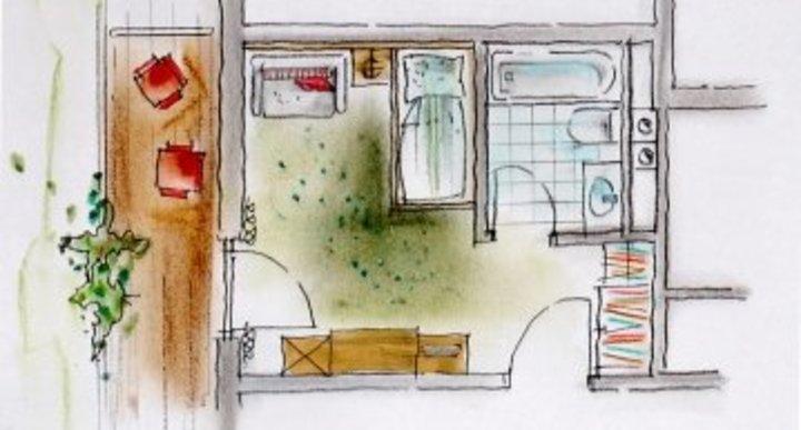 Großes Badezimmer mit Doppelwaschbecken, davon abgetrenntes WC, WLAN Internet, TV, Radio, Fön.